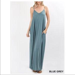 Dresses & Skirts - 💗V-Neck MaxiDress w Pockets & Adjustable Straps